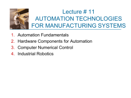 NUMERICAL CONTROL AND INDUSTRIAL ROBOTICS