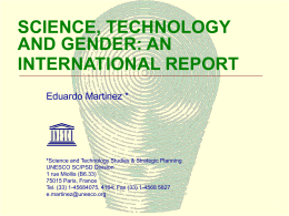 Science, Technology and Gender: an International Report