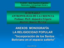 SEMINARIO: ANTROPOLOGIA DE LA CREENCIA Profesor: …