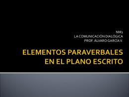 ELEMENTOS PARAVERBALES EN EL PLANO ESCRITO
