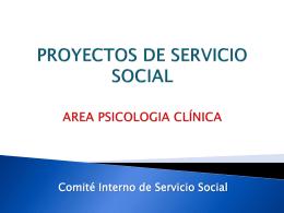 PROYECTOS DE SERVICIO SOCIAL AREA PSICOLOGIA DE …