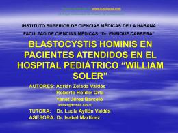 Blastocystis Hominis en pacientes atendidos en el Hospital