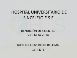 HOSPITAL UNIVERSITARIO DE SINCELEJO E.S.E.