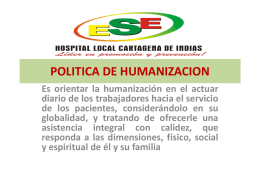 POLITICA DE HUMANIZACION - ESE CARTAGENA DE INDIAS