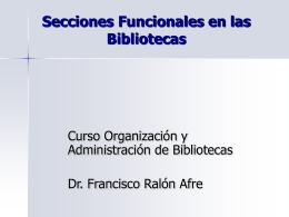 Secciones Funcionales en las Bibliotecas