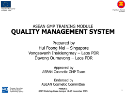 ASEAN GMP TEAM FRANCE BENCHMARKING 23 – 29 …