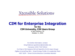 CIM for Enterprise Integration