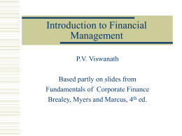 Advanced Financial Analysis: Intro and Firm Objectives