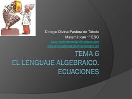 Tema 6 El lenguaje algebraico. Ecuaciones