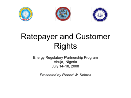 Ratepayer and Customer Rights