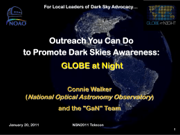 Outreach You Can Do to Promote Dark Skies Awareness: …