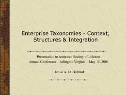 Enterprise Taxonomies - American Society for Indexing