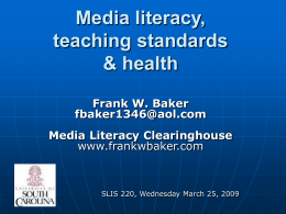 Media literacy, Teaching standards & health