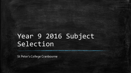 Year 9 2016 Subject Selection