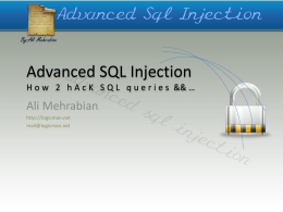 Advanced SQL Injection - University of Isfahan
