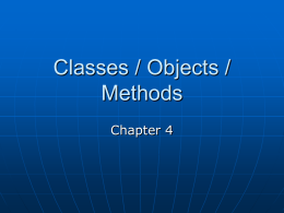 Classes / Objects / Methods