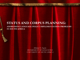 STATUS AND CORPUS PLANNING: ADDRESSING …