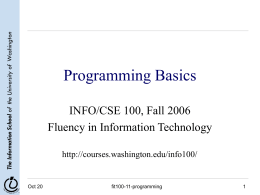 Programming Basics - University of Washington