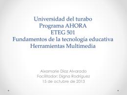 Universidad del turabo Programa AHORA ETEG 501 …