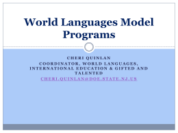 World Languages Model Programs