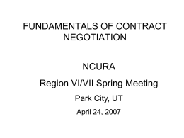 FUNDAMENTALS OF CONTRACT NEGOTIATI ON