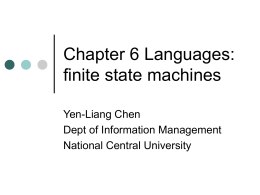 Chapter 6 Languages: finite state machines