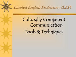 Limited English Proficiency - Washtenaw County, Michigan