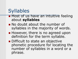 Syllables - California State University, Bakersfield