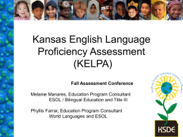 "Kansas English Language Proficiency Assessment ""KELPA"""