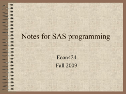 Notes for SAS programming - University of Maryland