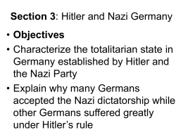 Section 3: Hitler and Nazi Germany