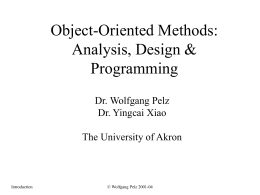 Object-oriented Analysis, Design & Programming
