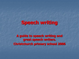 Speech Writing Powerpoint
