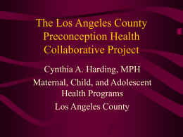The Los Angeles County Preconception Health …