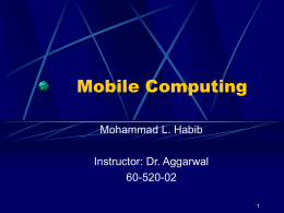 Mobile Computing - University of Windsor