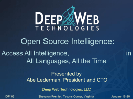 Deep Web Technologies - OSS.Net, Inc. Home Page