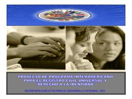 PROYECTO DE PROGRAMA INTERAMERICANO PARA EL …