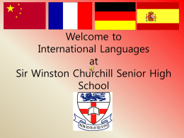 Welcome to International Languages at Sir Winston