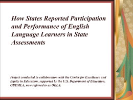 How States Reported Participation and Performance of