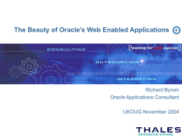 The Beauty of Oracle's Web Enabled Applications