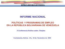INFORME NACIONAL POLITICAS Y PROGRAMAS DE …
