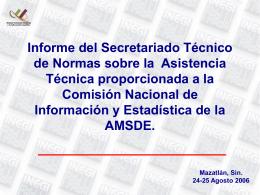 Informe del Secretariado Tecnico de Normas sobre la
