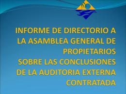 INFORME DE DIRECTORIO A LA ASAMBLEA GENERAL DE