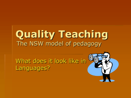 Quality Teaching - Welcome to the curriculum programs …