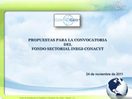 Propuestas para Fondo INEGI