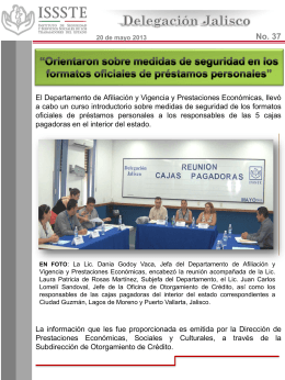 Diapositiva 1 - ISSSTE Delegacion Jalisco