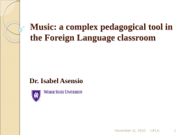 Music: a complex pedagogical tool in the Foreign …