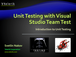 Unit Testing with VSTT
