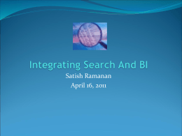 INTEGRATING SEARCH AND BUSINESS INTELLIGENCE