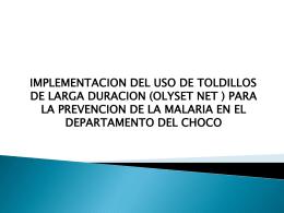 IMPLENTACION DEL USO DE TOLDILLOS TRATADOS DE …